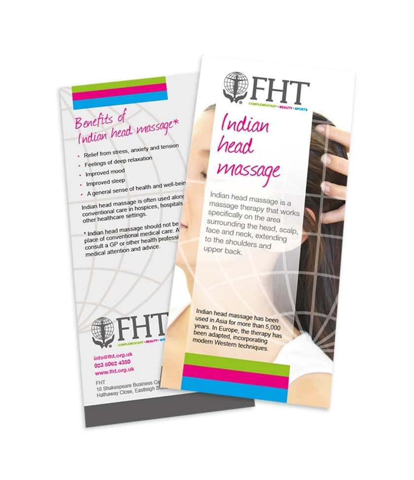Image of Indian head massage leaflets.