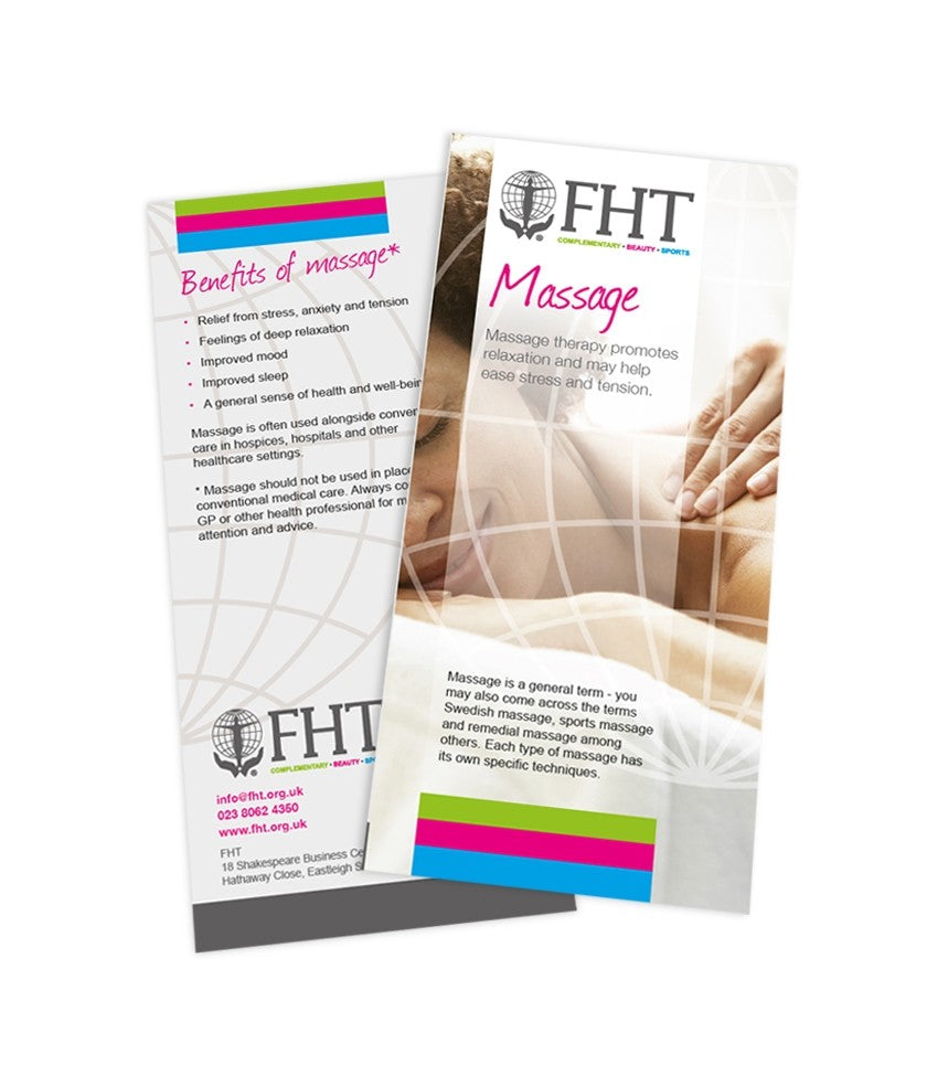 Image of FHT massage leaflets.