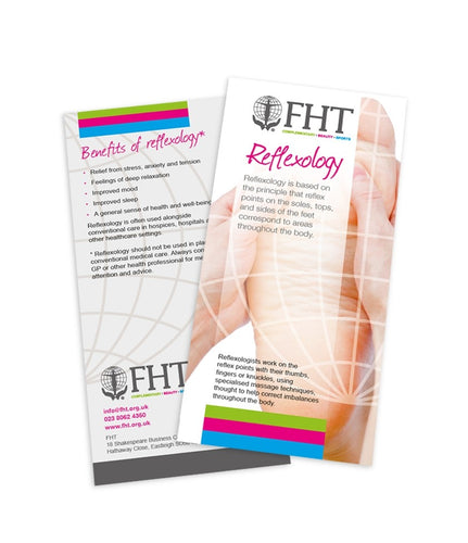Image of FHT reflexology leaflets.