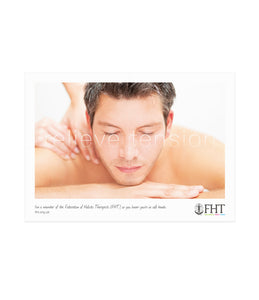 Image of an FHT poster, which shows a massage treatment.