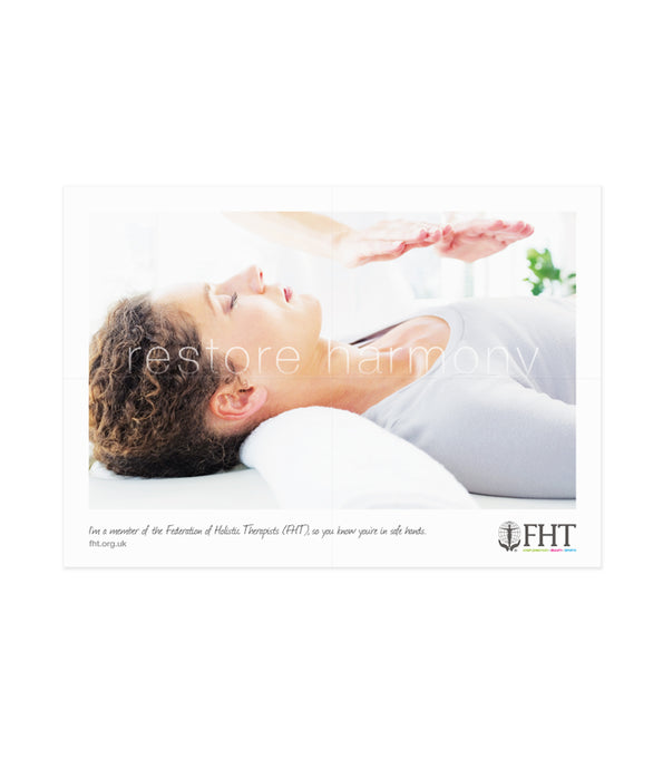 Image of an FHT poster, which shows a reiki treatment.
