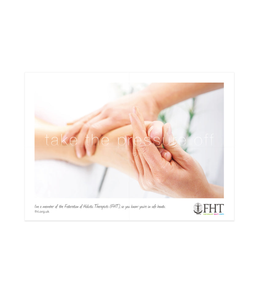 Image of an FHT poster, which shows a foot and reflexology treatment.