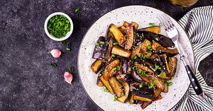 Chinese eggplant in hot garlic sauce