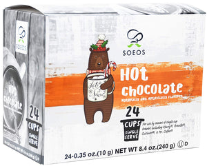 Soeos Chocolate Hot Cocoa (24 Count), Hot Cocoa Milk Chocolate Pods, Single Serving Cups.
