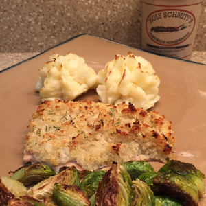 Horseradish Crusted Salmon & Horseradish Cheddar Mashed Potatoes by Shannon Reitz