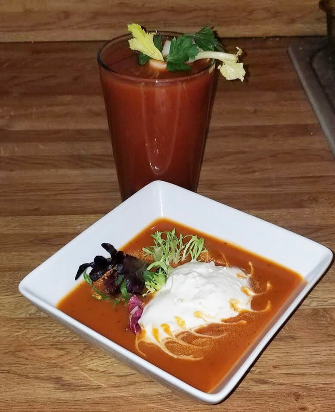 Tomato Gazpacho with Horseradish Ice Cream