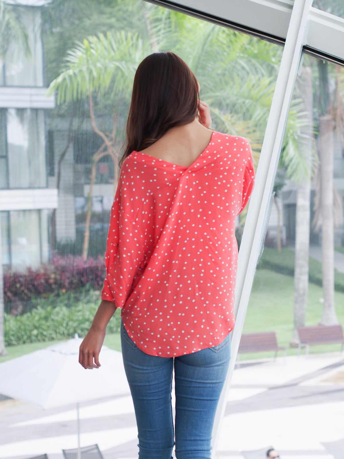 Polka Dot Blouse Red