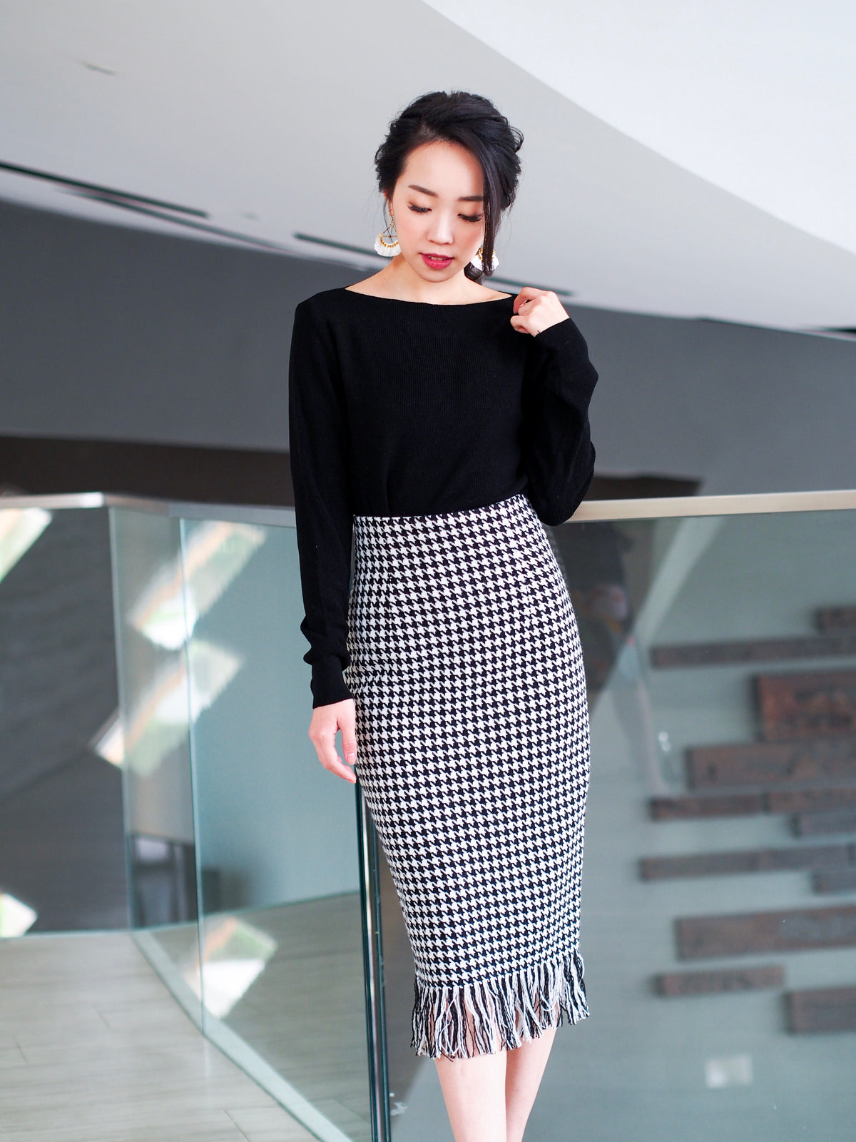 Adele Houndstooth Skirt