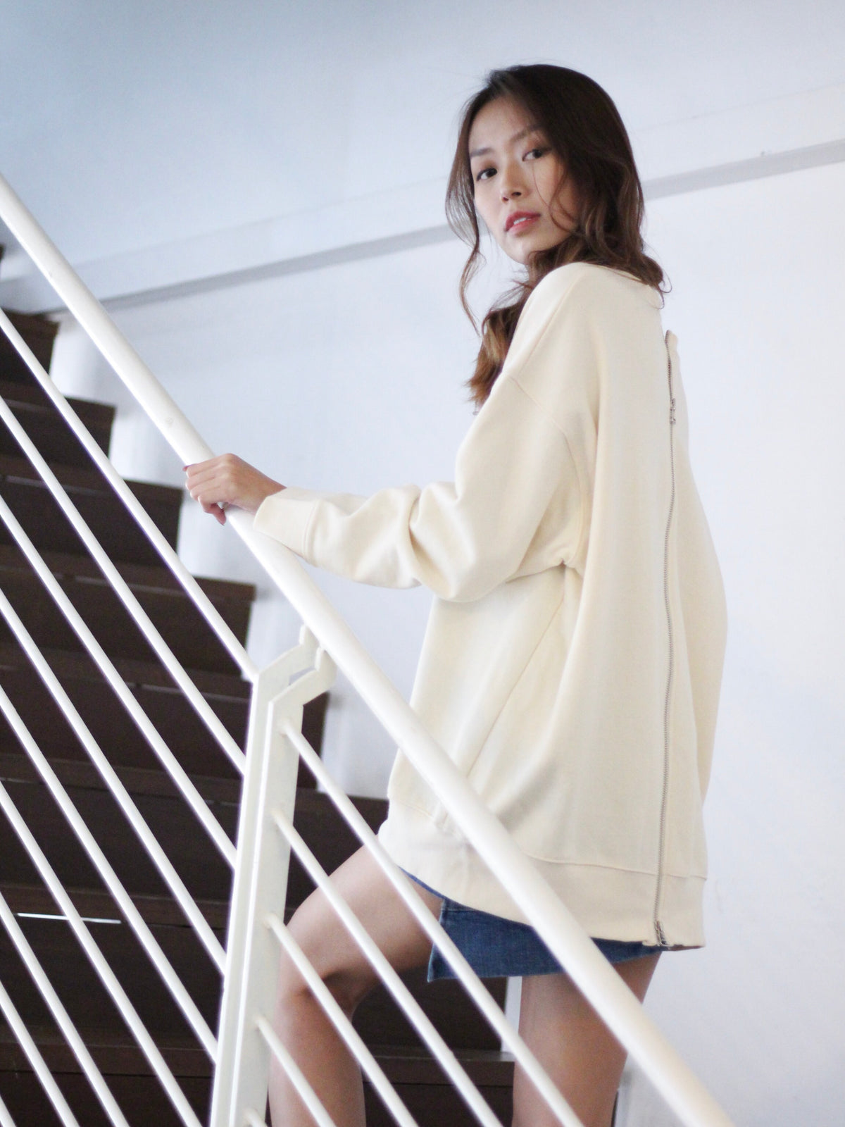 Odila Sexy Back Pullover Cream