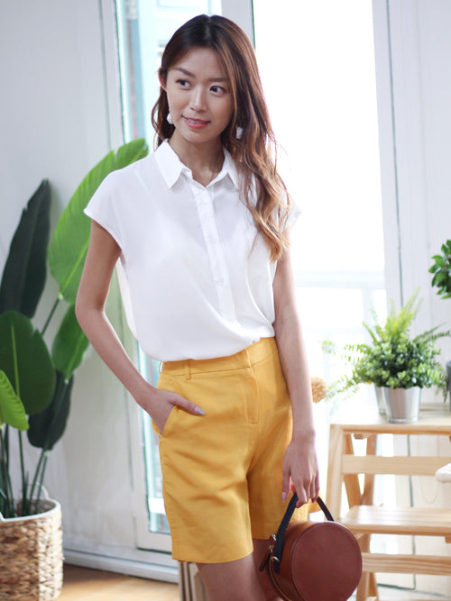 Capped Sleeves Collared Blouse White