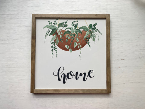 'Home' Hanging Plant Sign
