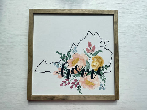 Floral Virginia 'Home' Sign