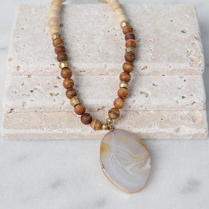Safari Necklace - Sand Stripes - Agate