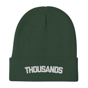 """Thousands"" Green Embroidered Beanie"