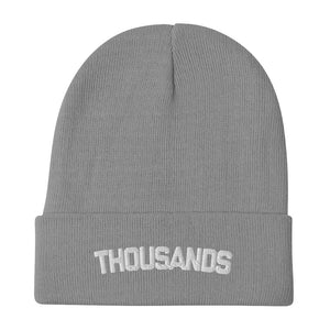 """Thousands"" GreyEmbroidered Beanie"