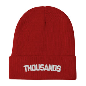 """Thousands"" Red Embroidered Beanie"