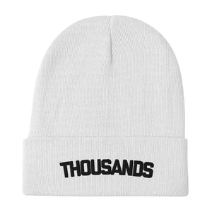 """Thousands"" White Embroidered Beanie"