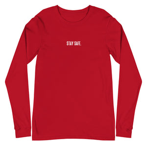 """STAY SAFE."" Long Sleeve Tee Red"
