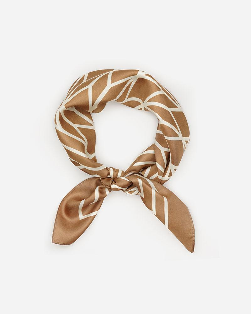 Striped Silk Scarf- Caramel