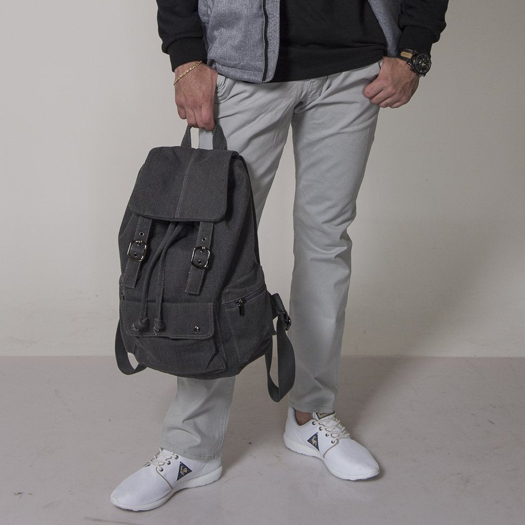Arizona - Grey Canvas Backpack - AllBags4u