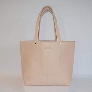 CORAL BAY-  Nude Soft Leather Shopper Tote Bag - AllBags4u