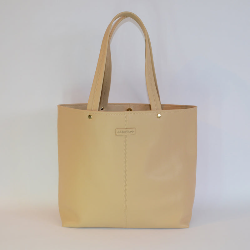 CORAL BAY-  Beige Soft Leather Shopper Tote Bag