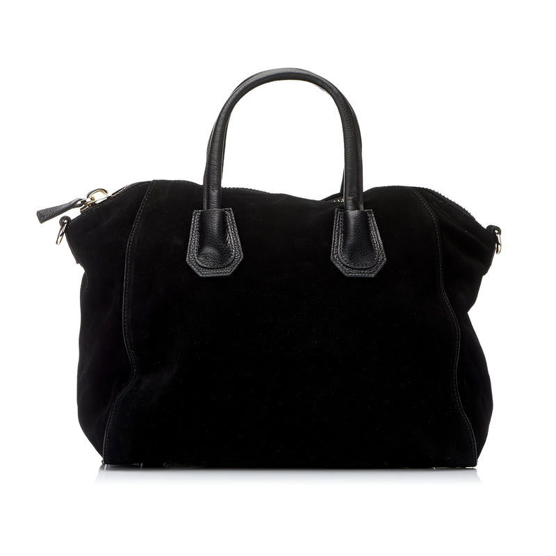 St Ives - Black Suede Soft Leather Handbag - AllBags4u