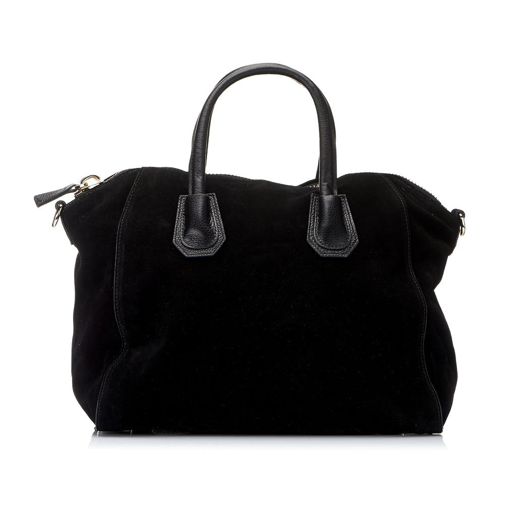St Ives - Black Suede Soft Leather Handbag with Shoulder Strap - AllBags4u