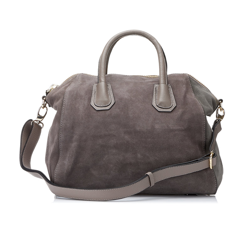St Ives - Womens Grey Leather Suede Soft Slouch Handbag - AllBags4u