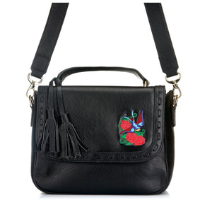 YAMBA- Addison Road  - Black Pebbled Leather Structured Bag - Addison Road