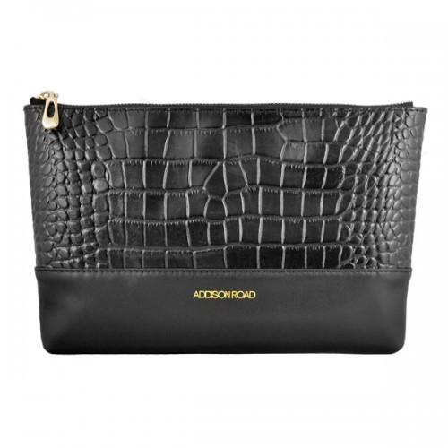 Avalon - Black Crocodile Leather Evening Clutch - AllBags4u