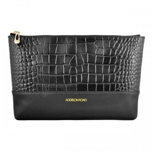 AVALON - Womens Black Genuine Leather Clutch-Womens Bag-BeltNBags-BeltNBags