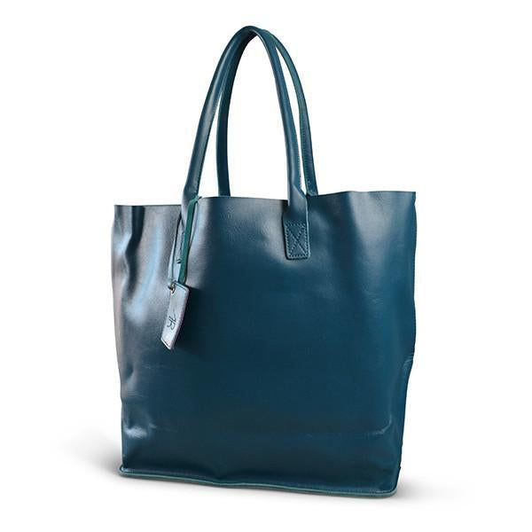 BIRCHGROVE - Addison Road Teal Blue Genuine Leather Tote - BeltNBags