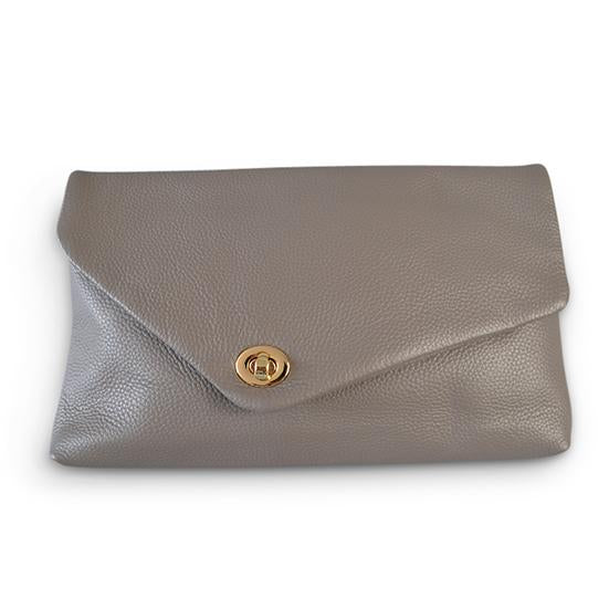 CENTENNIAL PARK - Grey Pebbled Leather Clutch - Addison Road