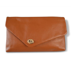 CENTENNIAL PARK - Tan Pebbled Leather Clutch - Addison Road