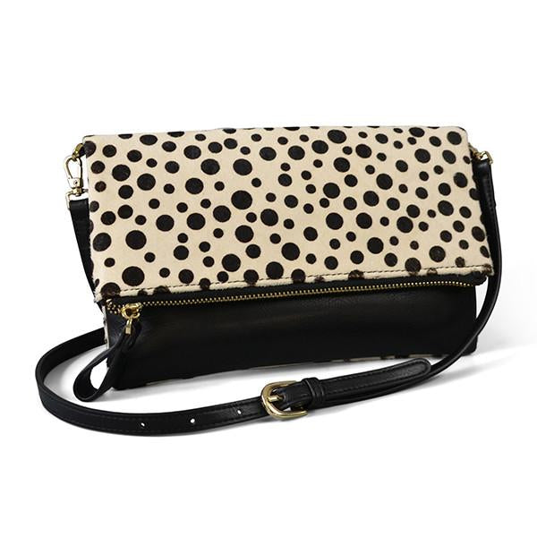 ELWOOD- Snow Leopard Animal Print Cow hide Crossbody Fold Clutch Bag - Addison Road