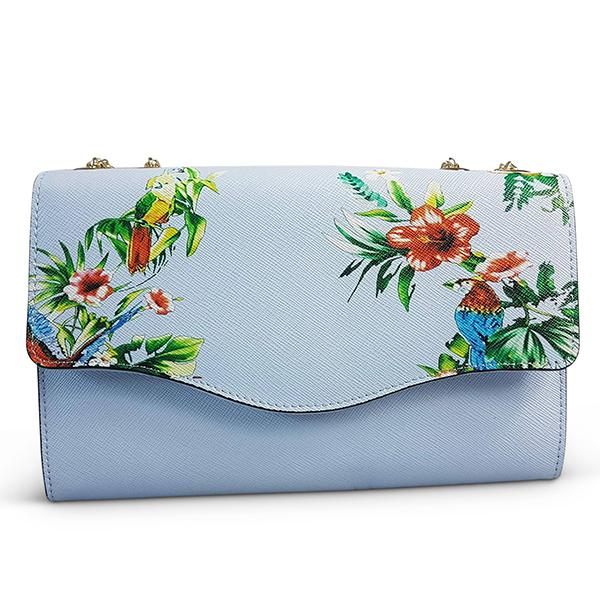 IVANHOE - Blue Leather Chain Clutch Bag with Tropical Print - AllBags4u