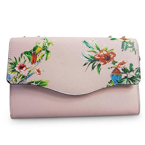 IVANHOE - Womens Blush Leather Chain Clutch Bag with Tropical Print - AllBags4u