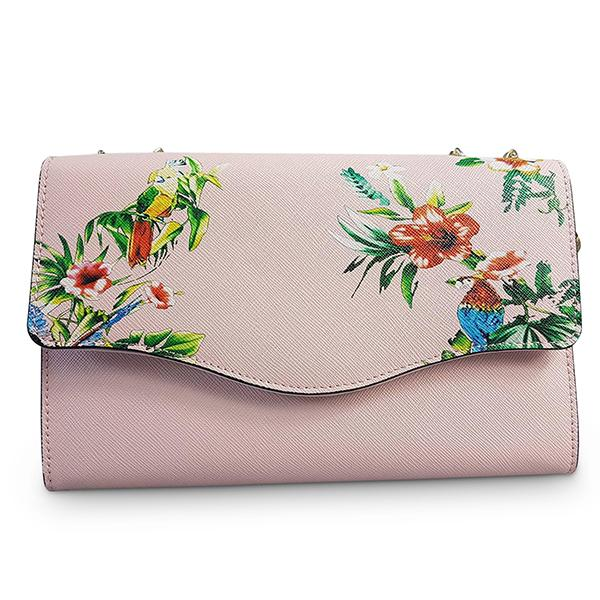 IVANHOE - Addison Road Blush Leather Clutch Bag with Tropical Print - BeltNBags