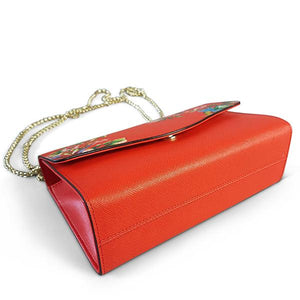 IVANHOE - Womens Red Leather Chain Clutch Bag with Tropical Print - AllBags4u