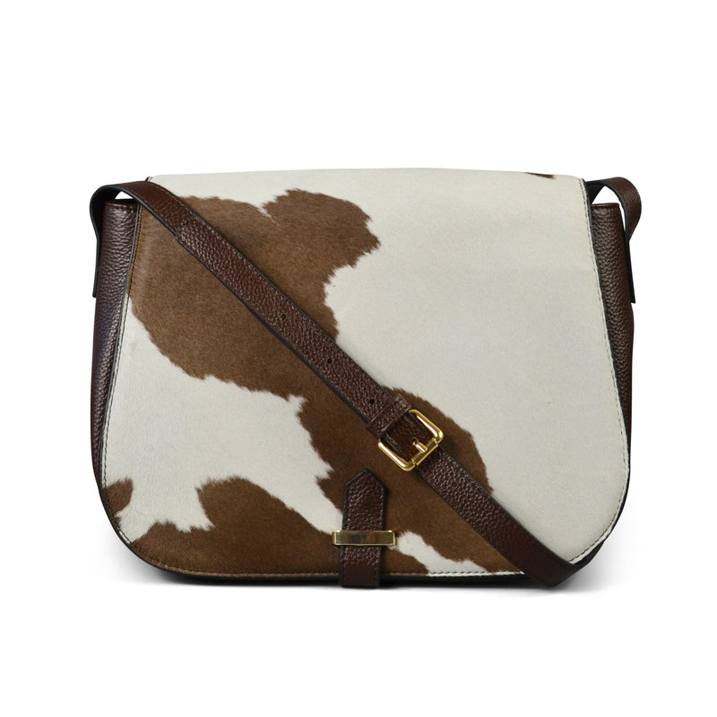 PRAHRAN- Addison Road Natural Brown Print Calfhair Saddle Bag - Addison Road