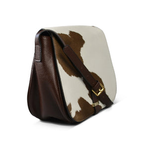 PRAHRAN- Addison Road Natural Brown Print Calfhair Saddle Bag - AllBags4u