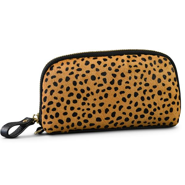 CARMICHAEL- Ladies Cheetah Cowhide Leather Phone Wristlet Wallet - Addison Road