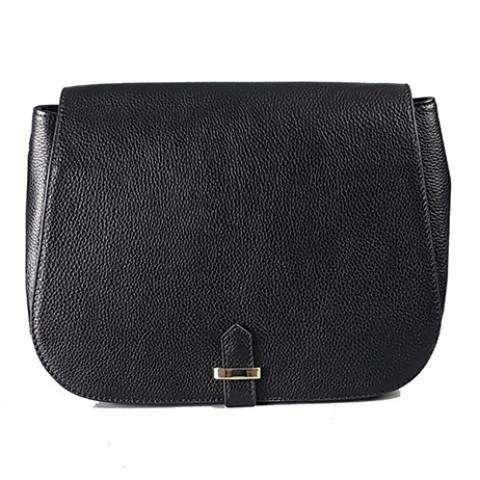 ALBERT PARK - Black Pebbled Leather Saddle Bag-Womens Bag-Addison Road-BeltNBags