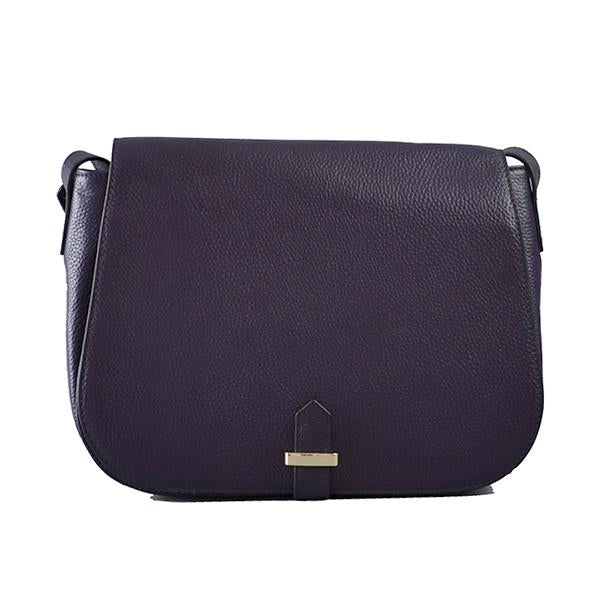 ALBERT PARK - Grape Pebbled Leather Saddle Bag-Womens Bag-Addison Road-BeltNBags