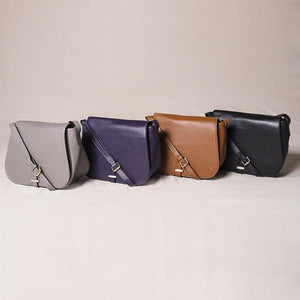 Albert Park - Womens Grey Leather Saddle Bag - AllBags4u