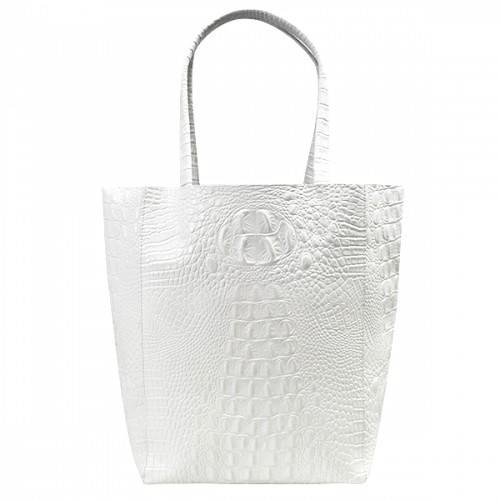 BALMAIN - Womens White Genuine Leather Tote-Womens Bag-BeltNBags-BeltNBags