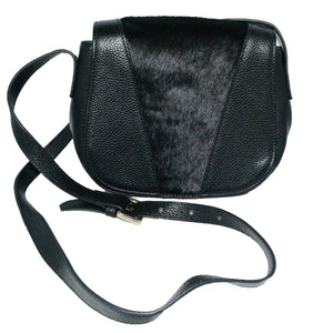 BERRY - Leather Saddle Bag with Black Calfhair - AllBags4u