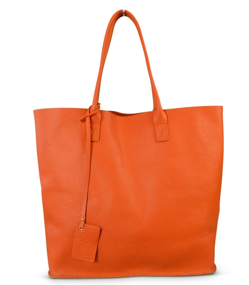 BIRCHGROVE Addison Road Womens Orange Genuine Pebbled Leather Tote - BeltNBags