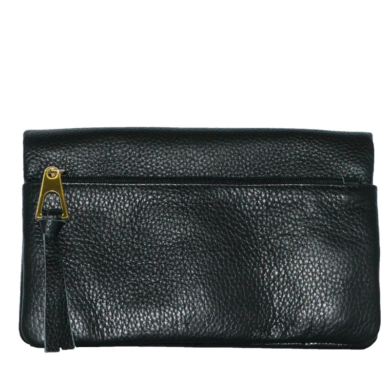 CREMORNE - Addison Road Black Soft Pebbled Leather Fold Wallet - Belt N Bags